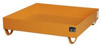 Auffangwannen für Innenlagerung, LxBxT 1200 x 1200 x 285 mm Feuerrot RAL 3000 / Ohne Gitterrost