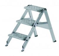 Sicherheitstreppen mit Stufenwahl, Stufe aus Aluminium-Riffelblech, mit Sicherheitsbügel 4