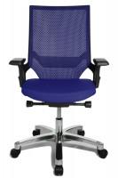 Bürodrehstuhl Miami Alu-poliert/Rahmen schwarz / Royalblau