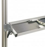 Neigbare Ablagekonsole E-LINE, Nutztiefe 195 mm Lichtgrau RAL 7035 / 1500