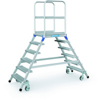 Podesttreppen fahrbar, zweiseitig begehbar Stahl-Gitterrost-Stufen / 6