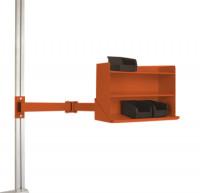 Sichtboxen-Regal-Halter-Element leitfähig Doppelgelenk / Rotorange RAL 2001