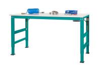Grundarbeitstisch UNIVERSAL ERGO E Elektro mit Memory Funktion, PVC 22 mm Wasserblau RAL 5021 / 2500 / 1000