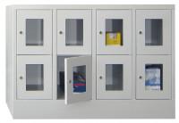 Halbhoher Schließfachschrank, Vollblechtüren, Abteilbreite 400 mm, Anzahl Fächer 2x2 Anthrazit RAL 7016