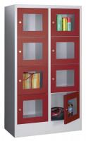 Halbhoher Schließfachschrank, Acrylglastüren, Abteilbreite 300 mm, Anzahl Fächer 2x4 Rubinrot RAL 3003