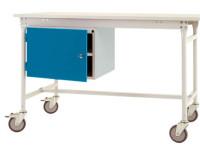 Komplett-Gehäuse BASIS mobil mit Tür, Nutzhöhe 300 mm links / Alusilber ähnlich RAL 9006