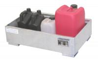 Auffangwannen für Innenlagerung, LxBxT 900 x 800 x 220 mm Resedagrün RAL 6011 / Ohne Gitterrost