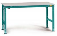 Grundarbeitstisch Melamin 22 mm UNIVERSAL Standard, leitfähig 1250 / 600 / Wasserblau RAL 5021