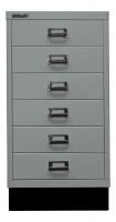 Schubladenschrank mit 6 Schubladen für DIN A3 Silber / mit Sockel