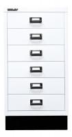 Schubladenschrank mit 6 Schubladen für DIN A3 Verkehrsweiß / mit Sockel
