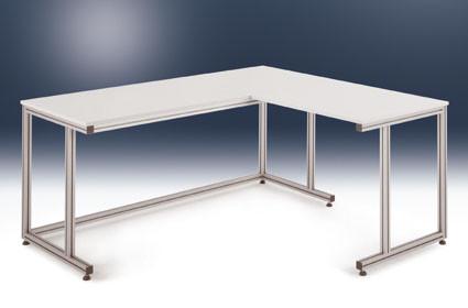 Verkettungs-Anbaukastentisch ALU Linoleum 22 mm, für sitzende Tätigkeiten