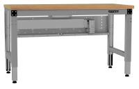 Grundwerkbank PROFIPLAN Ergo E, Buche-Platte 40 mm, Elektro mit Memory Funktion 2500 / 1000 / Alusilber ähnlich RAL 9006