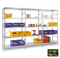 Komplett-Fachbodenregal SMARTFACTS, Grundregal mit Anbauregalen, Höhe 2500 mm 400 / 15