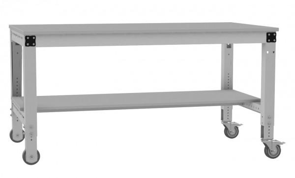 Komplett-Arbeitstisch MULTIPLAN mobil mit Zwischenboden und Melamin-Tischplatte