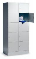 C+P Offener Wertfachschrank, Anzahl Fächer 2x5, Breite 460 mm Lichtgrau RAL 7035 / Lichtgrau RAL 7035