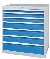 Schubfachschrank MAXTEC stationär, 6 x 100 , 2 x 150 mm Vollauszug 100%, 180 kg / Enzianblau RAL 5010