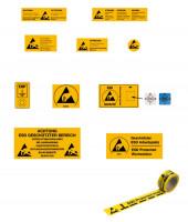 Warnschilder für ESD-Arbeitsplätze 300 x 500 / selbstklebend