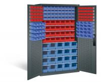 Großraumschrank mit 68 roten und 100 blauen Sichtlagerkästen, HxBxT 1950 x 1100 x 535 mm Anthrazit RAL 7016 / Anthrazit RAL 7016
