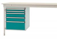 Schubfach-Unterbauten BASIS, stationär, 2 x 50 , 2 x 100 , 1 x 200 mm Wasserblau RAL 5021
