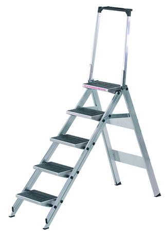 Sicherheitstreppen mit Stufenwahl, Stufe aus Kunststoff mit Sicherheitsbügel