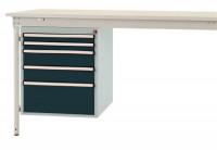 Schubfach-Unterbauten BASIS, stationär, 2 x 50 , 2 x 100 , 1 x 200 mm Anthrazit RAL 7016