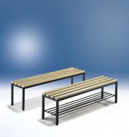 C+P Sitzbank mit unterbautem Schuhrost Hartholzleisten / 1500