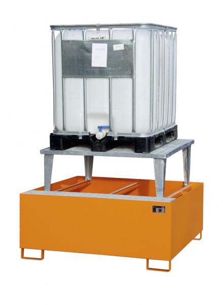 Auffangwannen für Tankcontainer und Fässer, mit Abfüllaufsatz