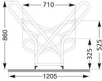 Fahrradständer - Anlehnparker mit mehr Abstand, verzinkt mit zweiseitiger Radeinstellung 90° mit Ste 2 x 6