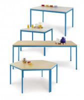 uniDesk Colors Ahorn Dekor 25 mm mit Wunschfarbe, 1400 x 700 x 725 mm, Trapeztisch lichtgrau / graug Buche / Lichtblau RAL 5012