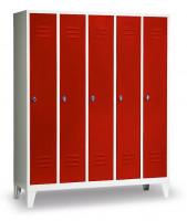 Garderobenschrank, die Klassischen, Abteilbreite 300 mm, 2 Abteile, mit Sockel Lichtgrau RAL 7035 / Lichtgrau RAL 7035