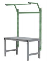 MULTIPLAN Stahl-Aufbauportale mit Ausleger, Grundeinheit 1250 / Resedagrün RAL 6011