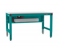 Grundarbeitstisch MULTIPLAN Ergo E Memory, Kunststoff 22 mm 1250 / 800 / Wasserblau RAL 5021