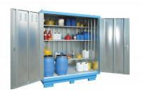 Gefahrstoff-Container, montierte Anlieferung, BxTxH 2075 x 1075 x 2375-2565 mm Himmelblau RAL 5015 / wassergefährdende Stoffe