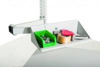 Sichtboxen-Regal-Halter-Element Doppelgelenk / Lichtgrau RAL 7035