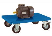 Schwerer Plattformwagen TRANSOMOBIL ohne Bügel und Stirnwand Brillantblau RAL 5007 / 1500 x 600