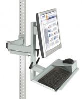 Ergo-Monitorträger mit Tastatur- und Mausfläche 100 / Lichtgrau RAL 7035