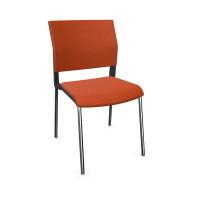 Design-Besucherstuhl, Vierfuß ohne Armlehnen Orange / Stoffpolster