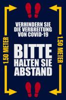 """Waschbare COVID-19 Schmutzfangmatte """"Bitte halten Sie Abstand"""", 115 x 180 cm blau"""