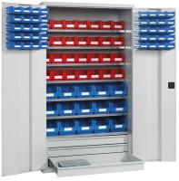 Großraumschrank mit Sichtlagerkästen Wasserblau RAL 5021 / 40x Größe 2, 28x Größe 3, 15x Größe 5