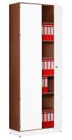 Modufix Flügeltüren-Büroschrank mit 6 Fachböden, HxBxT 2575 x 920 x 420 mm Nussbaum / Weiß