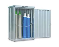 Gasflaschencontainer 1-flügelig, BxTxH 1420 x 1080 x 2250 mm ohne Boden / Signalgelb RAL 1003