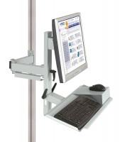 Ergo-Monitorträger mit Tastatur- und Mausfläche Lichtgrau RAL 7035 / 75