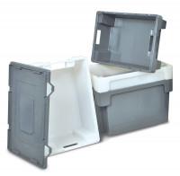 Euro-Drehstapelbehälter, Wände und Boden geschlossen 50 / Weiß