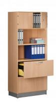 Modufix Kombi-Anbau-Büroschrank Türen + Hängeregistratur mit 4 Fachböden, HxBxT 2225 x 800 x 420 mm Lichtgrau / Lichtgrau