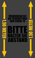 """Waschbare COVID-19 Schmutzfangmatte """"Bitte halten Sie Abstand"""", 85 x 150 cm grau"""