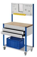 Mobile Arbeitsstation mit Lochplatte Enzianblau RAL 5010 / 1000