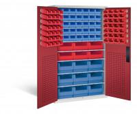 Großraumschrank mit 62 roten und 44 blauen Sichtlagerkästen, HxBxT 1950 x 1100 x 535 mm Lichtgrau RAL 7035 / Rubinrot RAL 3003
