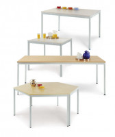 uniDesk Colors Ahorn Dekor 25 mm mit Wunschfarbe, 1600 x 800 x 725 mm Melamin / Lichtgrau RAL 7035
