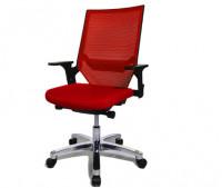Bürodrehstuhl Miami Alu-poliert/Rahmen schwarz / Rot