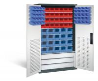 Großraumschrank mit Schubladenblock, 28 rote & 55 blaue Sichtlagerkästen, HxBxT 1950x1100x535 mm Anthrazit RAL 7016 / Lichtgrau RAL 7035
